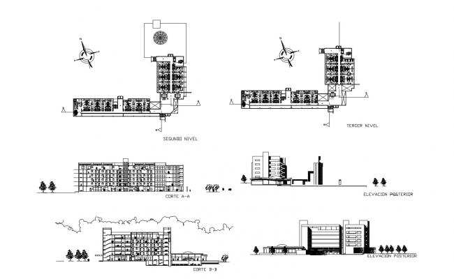 Architectural plan of the hotel building with elevation and section in dwg file