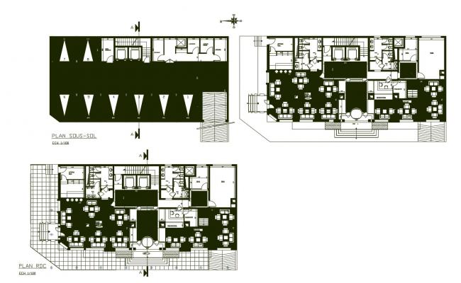 Architectural plan of the hotel design in AutoCAD