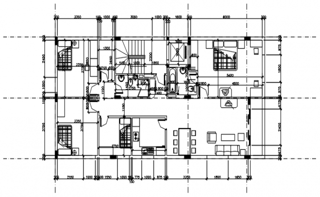 Architectural plan of the house with detail dimension in AutoCAD