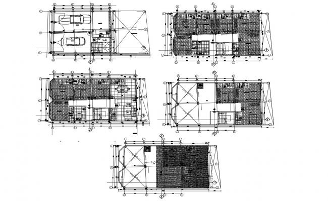 Architectural plan of the house with detail dimension in dwg file