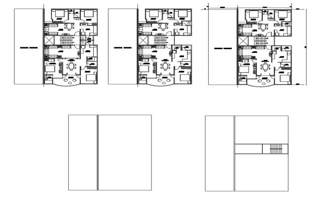 Architectural plan of the house with furniture detail in dwg file