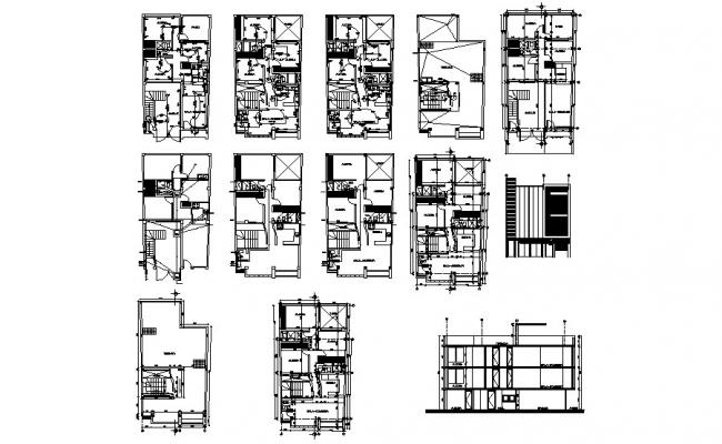 Architectural plan of the house with section and elevation in dwg file