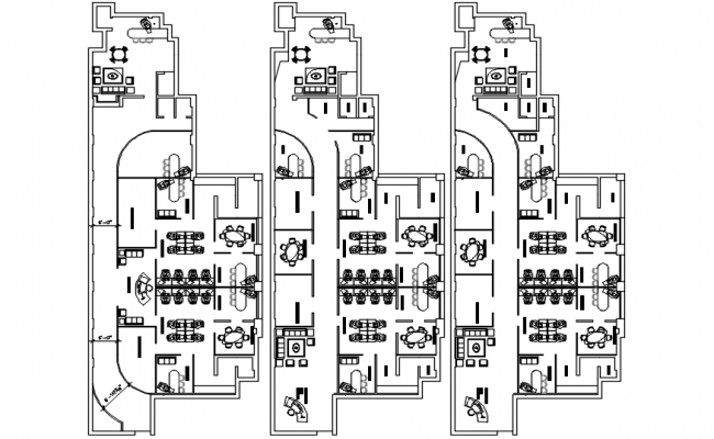 Architectural plan of the office building in autocad