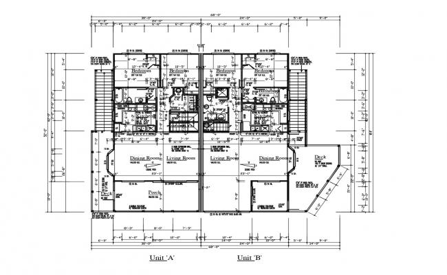 Architectural plan of the residential apartment with detail dimensions in dwg file
