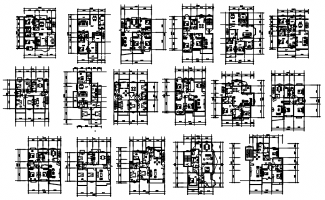 Architectural plan of the residential house with detail dimension in dwg file