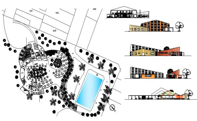 Architectural plan of the restaurant with section and elevation in AutoCAD