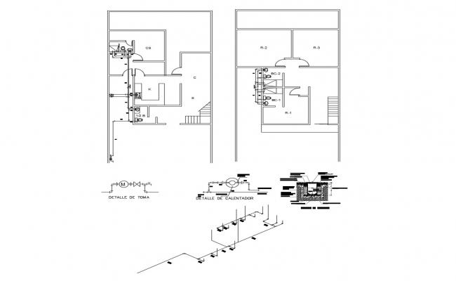 Architectural plan of the villa design with detail dimension in dwg file