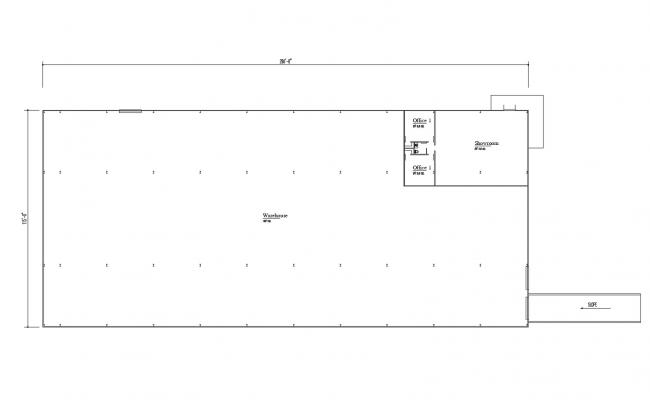 Architectural plan of the warehouse with detail dimension in dwg file
