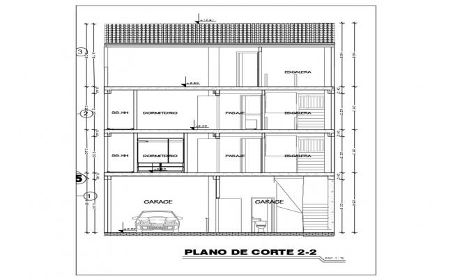 Architectural plan of two storey residence plan in autocad