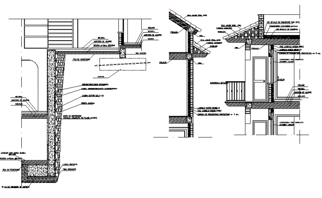 Architectural section abutment wall detail dwg file