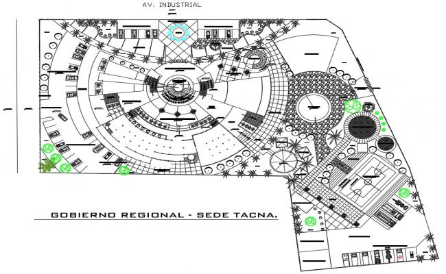 Architectural site plan CAD drawing download