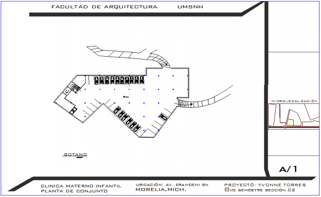 Architectural view of basement plan of clinic dwg file