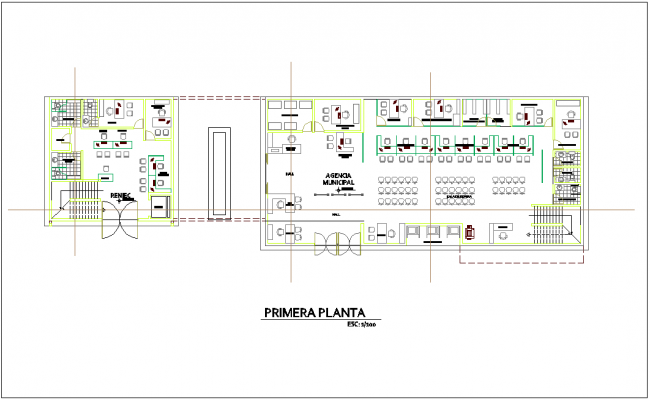 Architectural view of first floor plan for administration building dwg file