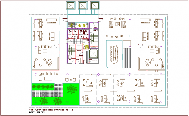 Architectural view of first floor plan of bank head quarter dwg file