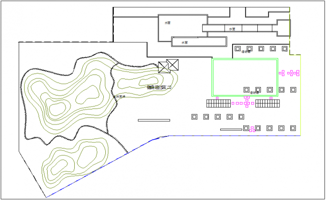 Architectural view of fitness activity area dwg file
