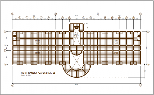 Architectural view of head quarter plan with office area view dwg file