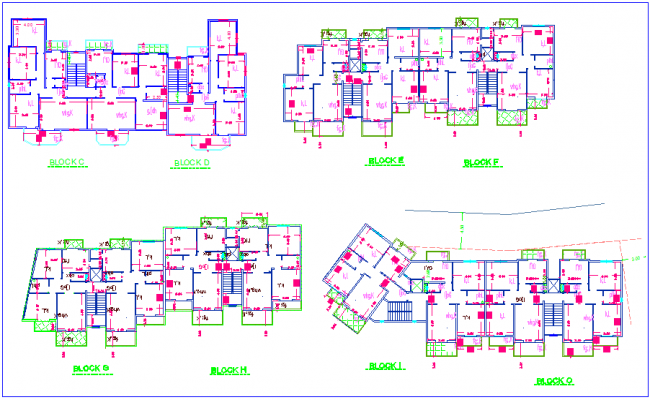 Architectural view of high rise building with block C to O plan dwg file