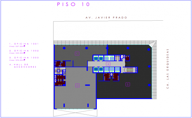 Architectural view of office floor plan of tenth floor dwg file