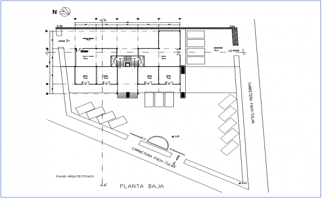 Architectural view of office low plan dwg file