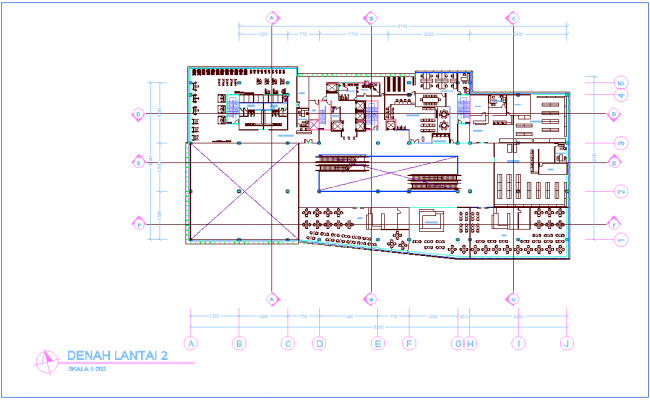 Architectural view of office second floor plan dwg file