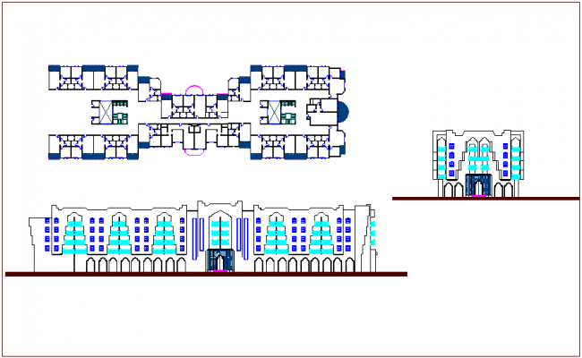 Architectural view of omen hotel dwg file