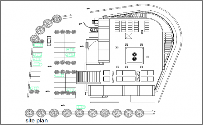 Architectural view of site plan of mixed use building dwg file