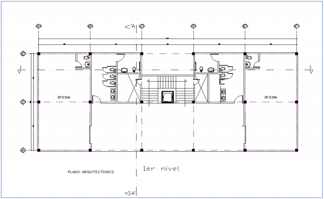 Architectural view with first floor plan of office dwg file