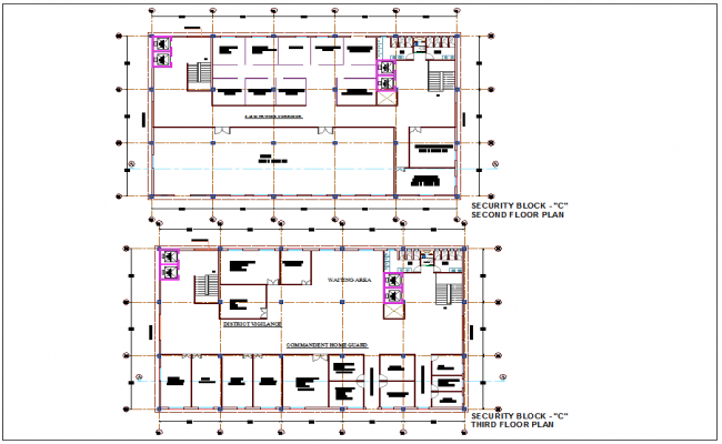 Architectural view with second and third floor plan for block C of administration building dwg file