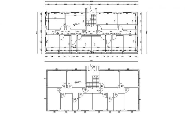 Architectural Commercial Building Floor Plan AutoCAD Drawing