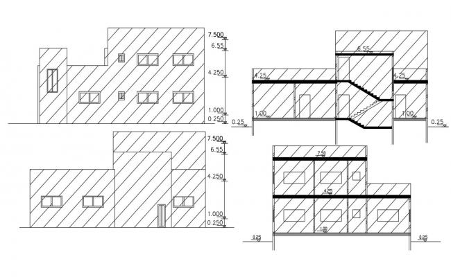 Architectural House Sectional Elevation Design DWG File
