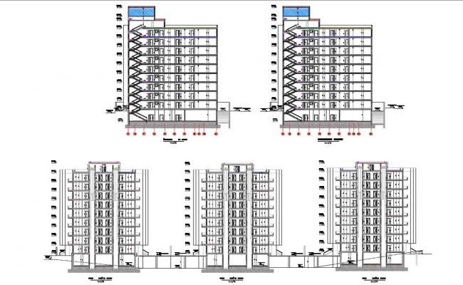 Architectural Multistorey Apartment Building Design AutoCAD File