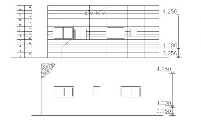 Architectural house elevations with dimension CAD File