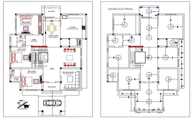 Architecture 3 BHK Bungalow Ground Floor Plan With Electrical Layout Plan AutoCAD File
