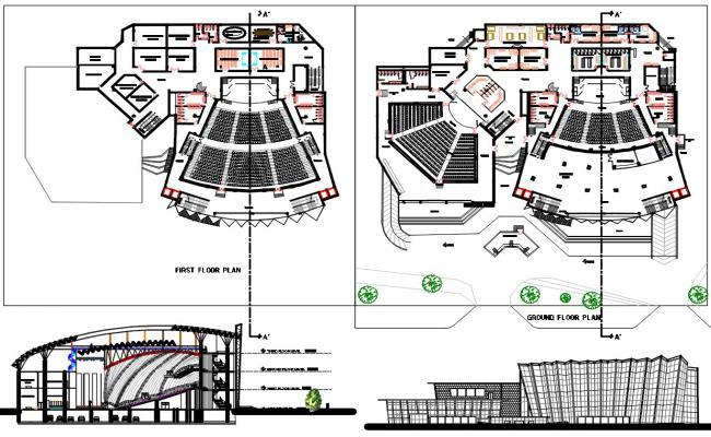 Architecture Auditorium Project AutoCAD File