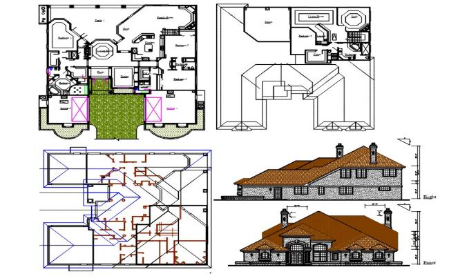 Architecture Bungalow Plan AutoCAD Drawing