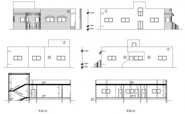 Architecture Bungalow Sectional Elevation Design DWG