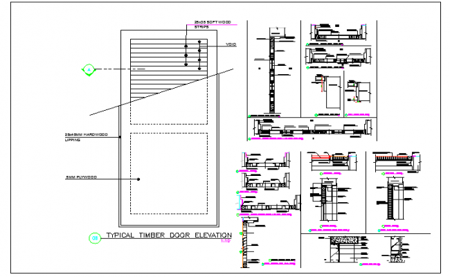 Architecture Design of  Door Elevation and Section Plan dwg file