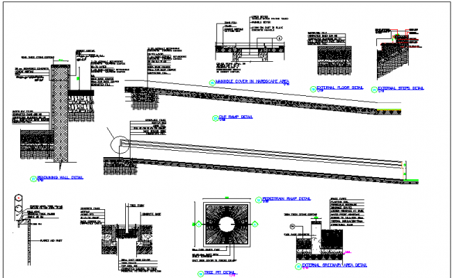 Architecture Design of  Wall Construction & Stair Cases of Building dwg file