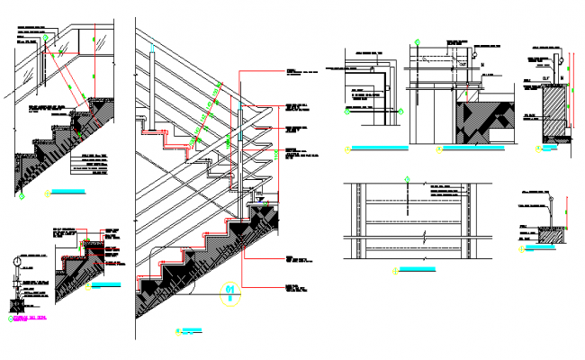 Architecture Design of Stair Cases of House dwg file