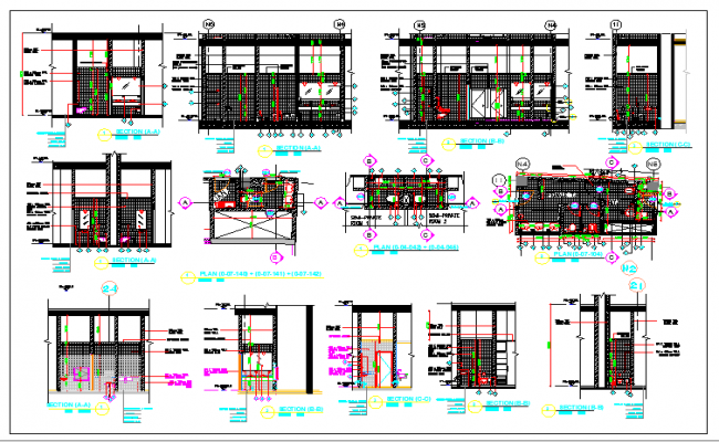 Architecture Design of Toilet of Building dwg file