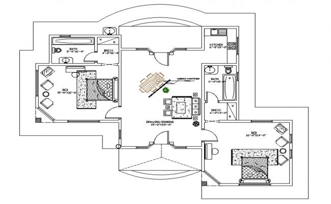 Architecture House AutoCAD Drawing