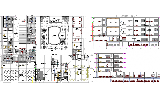 Architecture Layout of Five Star Hotel Elevation dwg file
