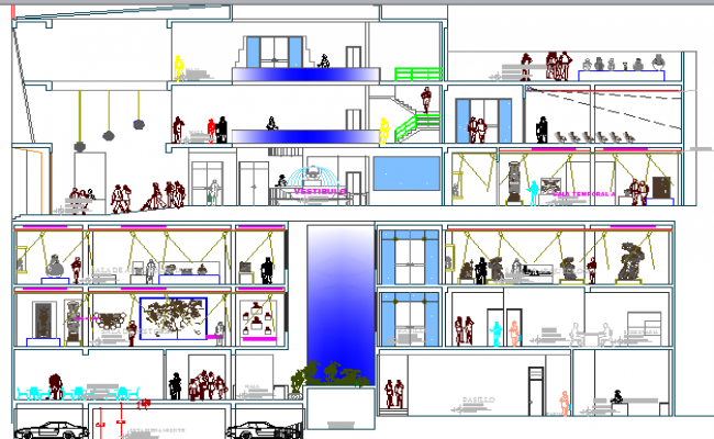 Architecture Layout of Museum  and Structure Details dwg file