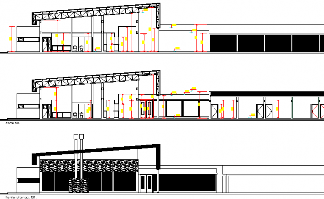 Architecture Layout of Route Hotel Design and Elevation dwg file