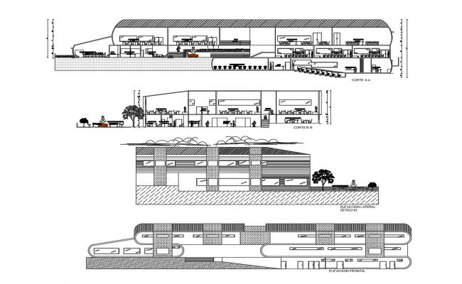 Architecture Luis college building elevation and sectional details dwg file