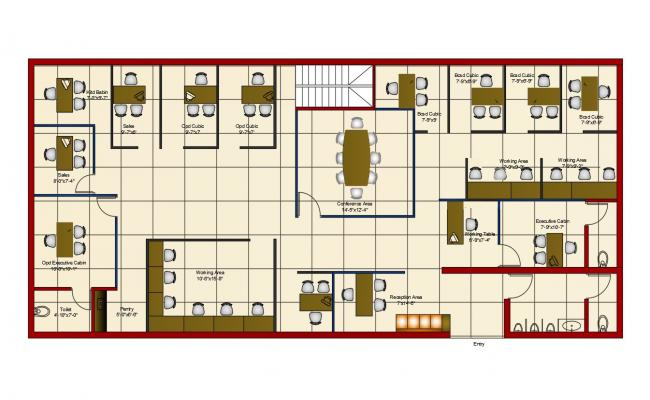 Architecture Office Furniture Layout Plan AutoCAD File