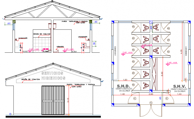 Architecture Plan of Hygienic Service Elevation dwg file