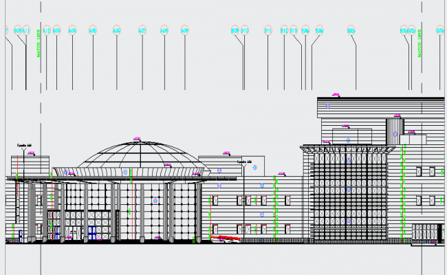 Architecture Elevation design of Museum dwg file