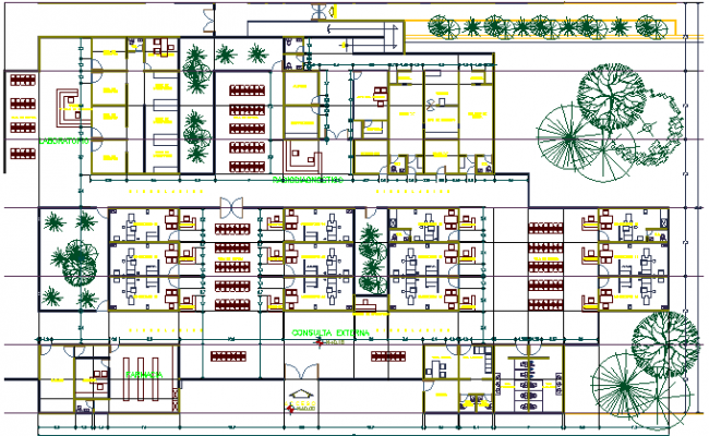 Architecture Project of Medical Unit dwg file