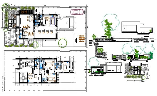 Architecture Salon Floor Plan With Landscaping Design AutoCAD File